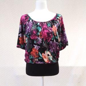 Candie's Floral Dolman Black Banded Waist Top